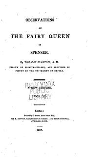 Observations on the Fairy queen of Spenser by Warton, Thomas