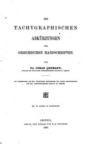 Die tachygraphischen Abkrzungen der griechischen Handschriften by Oskar Lehmann