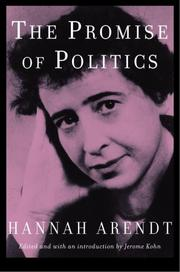 Cover of: The Promise of Politics by Hannah Arendt
