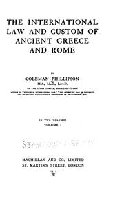 The international law and custom of ancient Greece and Rome PDF