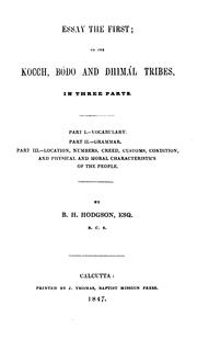 Essay the first by B. H. Hodgson