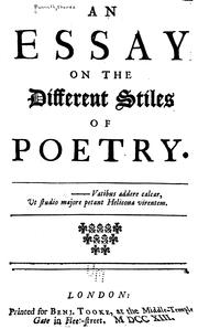An essay on the different stiles of poetry .. PDF