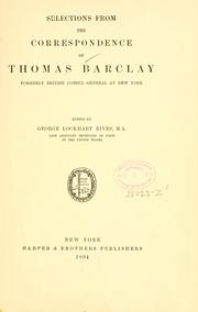 Selections from the correspondence of Thomas Barclay by Thomas Barclay