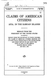 Claims of American citizens, Apia, in the Samoan Islands PDF