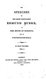 Cover of: The speeches of the Right Honourable Edmund Burke by Edmund Burke