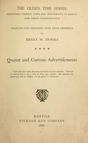 The olden time series by Henry M. Brooks