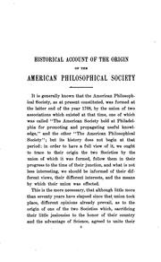 An historical account of the origin and formation of the American philosophical society held at Philadelphia for promoting useful knowledge by American Philosophical Society