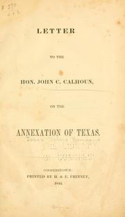 Letter to the Hon. John C. Calhoun by Jabez D. Hammond