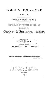 Examples of printed folk-lore concerning the Orkney & Shetland Islands PDF