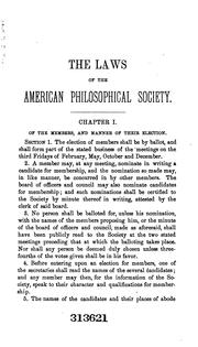 Laws and regulations of the American Philosophical Society by American Philosophical Society