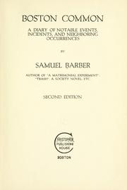 Cover of: Boston Common by Barber, Samuel