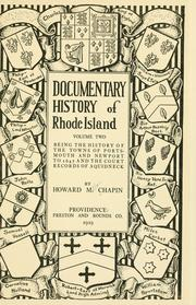 Documentary history of Rhode Island by Howard M. Chapin