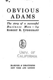 Cover of: Obvious Adams by Robert R. Updegraff
