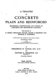 A treatise on concrete, plain and reinforced by Frederick Winslow Taylor