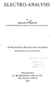 Electro-analysis by Edgar Fahs Smith