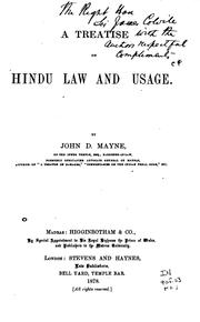 A treatise on Hindu law and usage by John Dawson Mayne