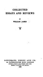 Collected essays and reviews by William James