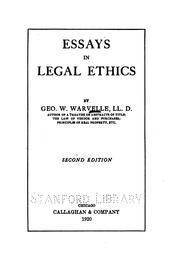 Essays in legal ethics PDF