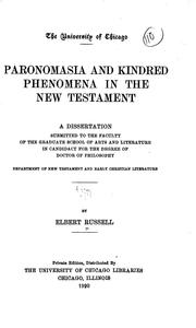 Paronomasia and kindred phenomena in the New Testament by Elbert Russell