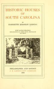 Historic houses of South Carolina PDF