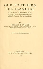 Cover of: Our southern highlanders by Kephart, Horace