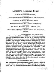 Lincoln's religious belief PDF
