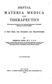 Dental materia medica and therapeutics by Prinz, Hermann