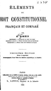 lments de droit constitutionnel franais et compar by A. Esmein