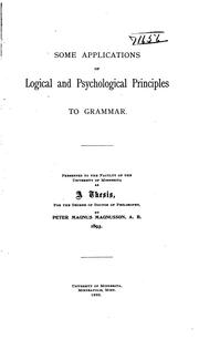 Some Applications Of Logical And Psychological Principles To Grammar by Peter Magnus Magnusson