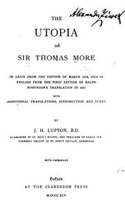 Cover of: The Utopia of Sir Thomas More by Thomas More