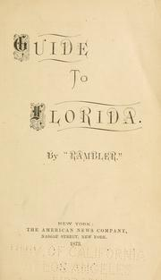 "Guide to Florida by ""Rambler,"" pseud."