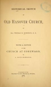 Cover of: Historical sketch of old Hanover church by T. H. R.