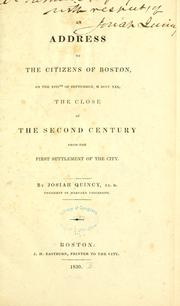 An address to the citizens of Boston on the XVIIth of September MDCCCXXX, the close of the second century from the first settlement of the city PDF