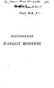 Dictionnaire d'argot moderne PDF