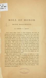 Roll of honor, Groton, Massachusetts by Samuel A. Green