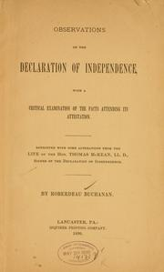 Cover of: Observations on the Declaration of Independence by Roberdeau Buchanan