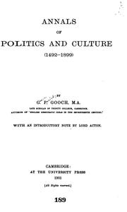 Annals of politics and culture (1492-1899) PDF