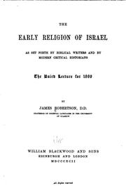 The early religion of Israel by Robertson, James