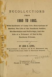 Cover of: Recollections from 1860 to 1865 by Lewis, John H.