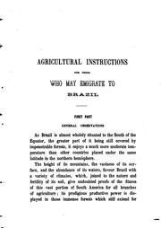 Agricultural instructions for those who may emigrate to Brazil PDF
