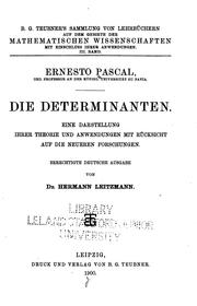 Die Determinanten by Ernesto Pascal