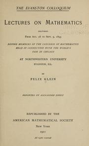 The Evanston colloquium by Felix Klein