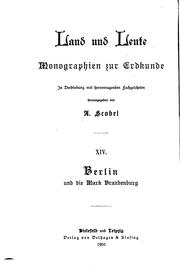 Berlin und die Mark Brandenburg by Fedor Karl Maria Hermann August von Zobeltitz
