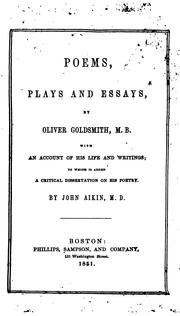 Poems, plays and essays by Goldsmith, Oliver
