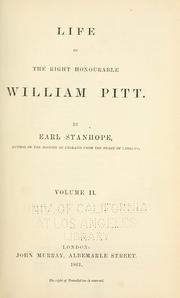 Life of the Right Honourable William Pitt by Stanhope, Philip Henry Stanhope Earl