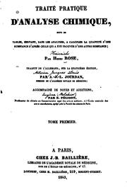 Traité pratique d'analyse chimique by Heinrich Rose