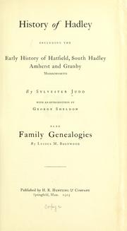 History of Hadley by Judd, Sylvester