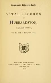 ... Vital records of Hubbardston, Massachusetts PDF