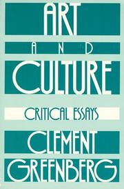 Art and culture by Greenberg, Clement