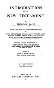 Introduction to the New Testament by Theodor Zahn